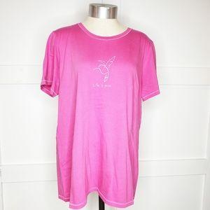 Life is Good Large Pink Hummingbird T- Shirt Tee